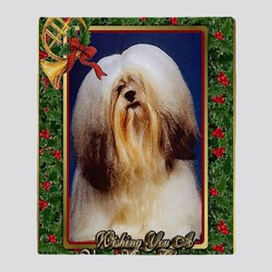 Lhasa Apso Dog Christmas Throw Blanket