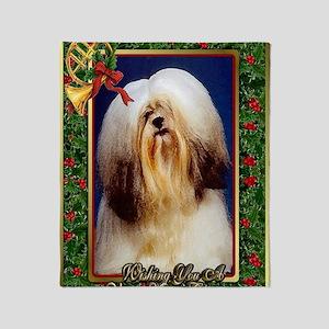 Lhasa Apso Dog Christmas Throw Blanket