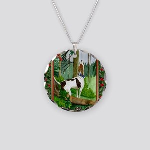 Treeing Walker Coonhound Dog Necklace Circle Charm