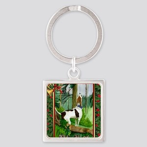 Treeing Walker Coonhound Dog Chris Square Keychain