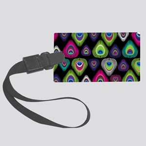 Colorful Peacock Feathers Large Luggage Tag