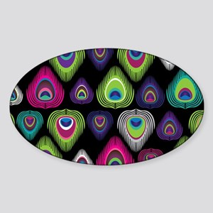 Colorful Peacock Feathers Sticker (Oval)