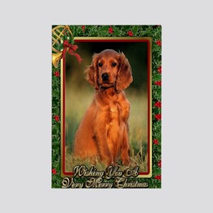 Irish Setter Dog Christmas Rectangle Magnet