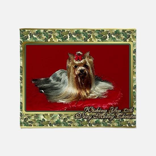 Yorkshire Terrier Dog Christmas Throw Blanket