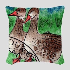 Vintage 1995 Switzerland Geese Woven Throw Pillow