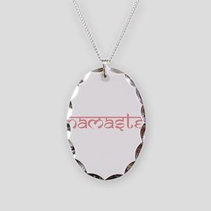 Namaste, Yoga Necklace Oval Charm
