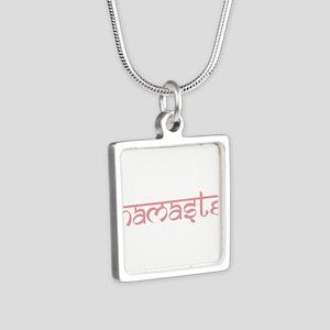 Namaste, Yoga Silver Square Necklace