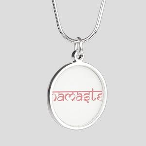 Namaste, Yoga Silver Round Necklace