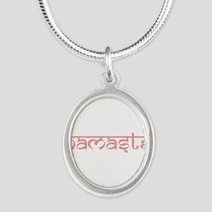 Namaste, Yoga Silver Oval Necklace