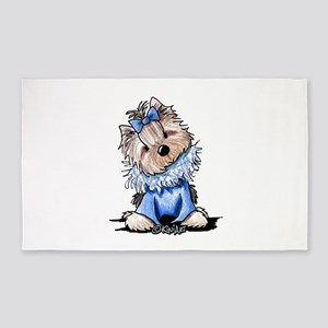 Yorkie In Blue 3'x5' Area Rug