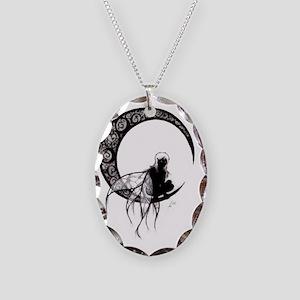 Dark Fairy Tattoo Necklace Oval Charm