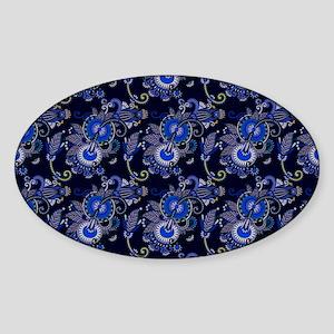 Blue Paisley Pattern Sticker (Oval)