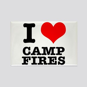 I Heart (Love) Camp Fires Rectangle Magnet