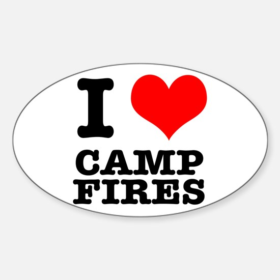 I Heart (Love) Camp Fires Oval Decal