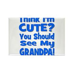 Think I'm Cute? Grandpa Blue Rectangle Magnet