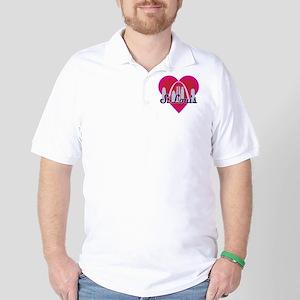 St Louis Skyline Heart Golf Shirt