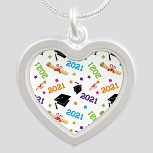 Class of 2021 Grad Gift Silver Heart Necklace
