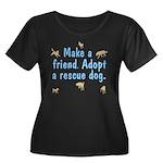 Adopt A Rescue Women's Plus Size Scoop Neck Dark T