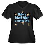 Adopt A Rescue Women's Plus Size V-Neck Dark T-Shi