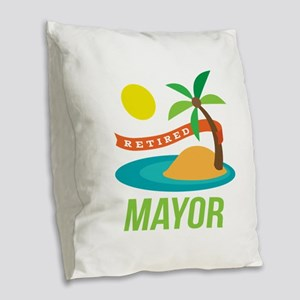 Retired Mayor Burlap Throw Pillow