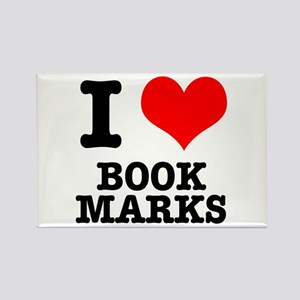 I Heart (Love) Bookmarks Rectangle Magnet