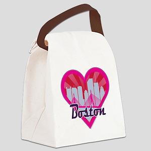 Boston Skyline Sunburst Heart Canvas Lunch Bag