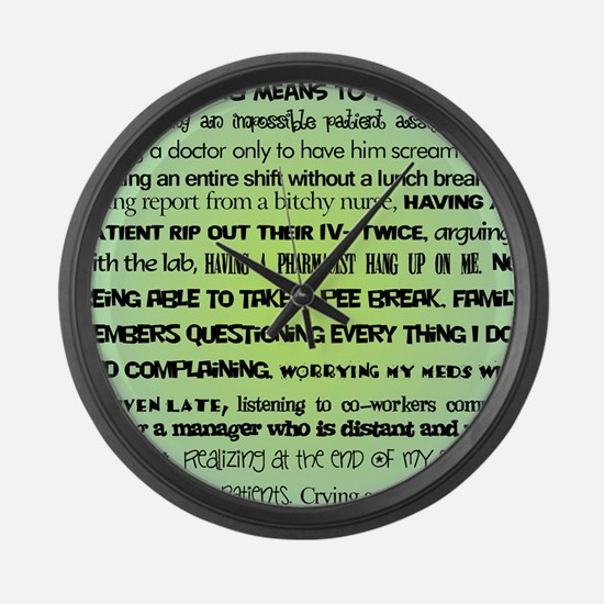 what nursing means to me BLUE Large Wall Clock