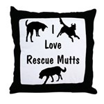 I Love Rescue Mutts Throw Pillow