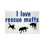 I Love Rescue Mutts Rectangle Magnet