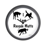 I Love Rescue Mutts Wall Clock