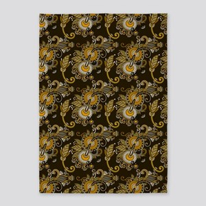 Gold and Brown Paisley 5'x7'Area Rug