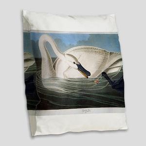 J J Audubon - Swan Burlap Throw Pillow