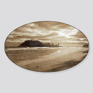 Footsteps In The Sand Sticker (Oval)