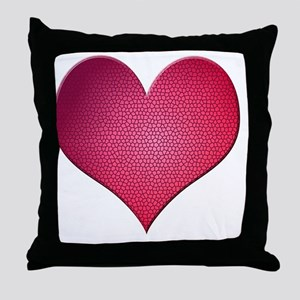 Red Stained Glass Heart Throw Pillow