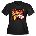 The Orchid Galaxy Women's Plus Size V-Neck Dark T-