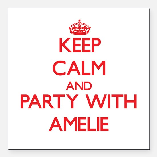 Keep Calm and Party with Amelie Square Car Magnet