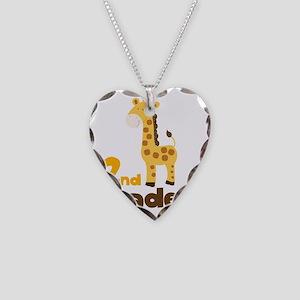 2nd Grader giraffe Necklace Heart Charm
