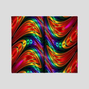 Fractal Silk Rainbow Pattern Throw Blanket
