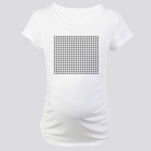 Retro Houndstooth Vintage  Grey Maternity T-Shirt