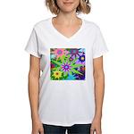 Exploding Stars Graphic Women's V-Neck T-Shirt