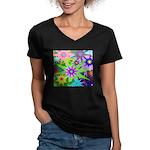 Exploding Stars Graphic Women's V-Neck Dark T-Shir