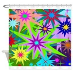 Exploding Stars Graphic Shower Curtain