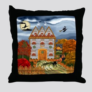 Samhain Cottage Throw Pillow
