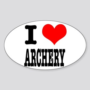 I Heart (Love) Archery Oval Sticker