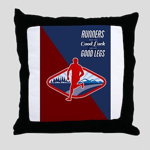 Cross Country Runner Retro Poster Throw Pillow