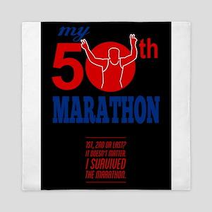 50th Marathon Race Poster Queen Duvet