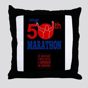 50th Marathon Race Poster Throw Pillow