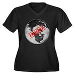 Fragile Women's Plus Size V-Neck Dark T-Shirt