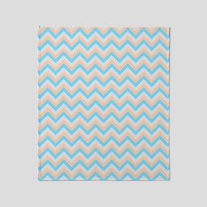 Orange,Blue and Gray Chevrons Throw Blanket