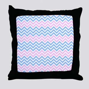 Pink and Blue Chevrons Throw Pillow